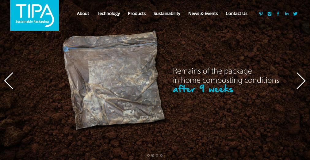 Exemplo do site da TIPA, empresa israelense de embalagens