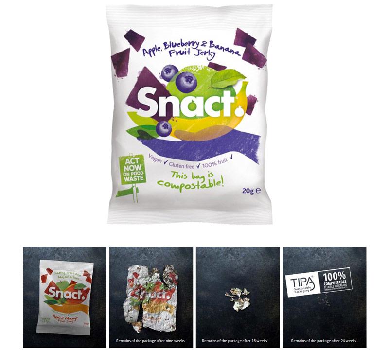 Embalagem da marca Snact se descompõe em 24 semanas