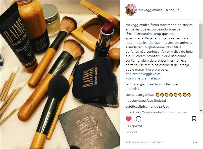 Post da Alana Rox, do programa The Veggie Voice (GNT) sobre a marca de cosméticos Baims